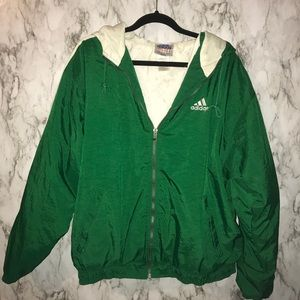 Adidas vintage green windbreaker size L